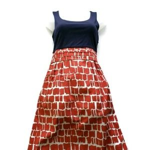 Boden Red White Blue Empire Waist Dress Pockets!
